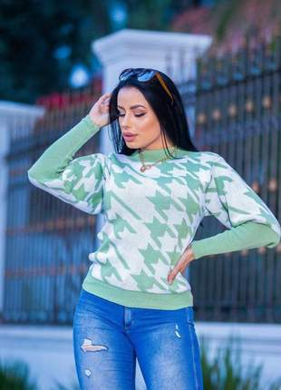 Blusa de tricot mesclado pied poule verde