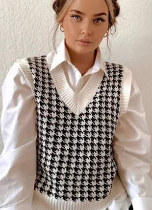 Colete de tricot pied poule