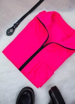 Blusa moletom flanelado rosa florescente