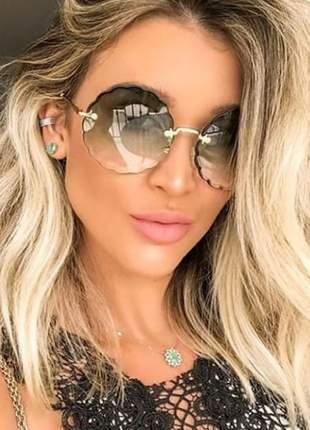 Óculos de sol cristal redondo