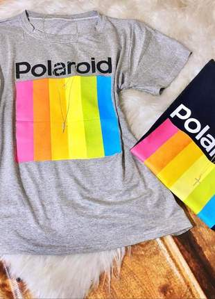 T- shirt polaroid blusa feminina curta manga curta