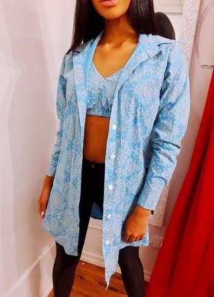 Conjunto feminino blusa com cropped tricolinho estampado