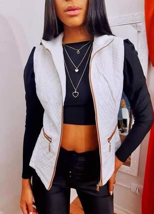 Colete nylon com zíper frontal moda feminina outono inverno 2021
