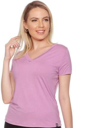 Camiseta feminina básica t-shirt lisa casual gola v manga dupla resistente confortável