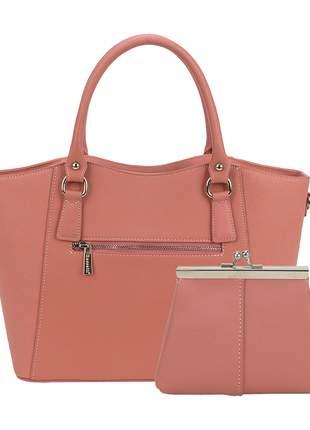 Bolsa feminina de mão alça tiracolo luxo + carteira - luxcel