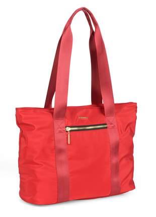 Bolsa sacola feminina alça dupla zíper de metal - luxel