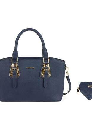 Bolsa feminina couro legítimo + porta níquel azul - luxcel