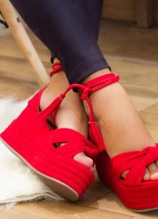 Anabela feminina salto médio vermelho
