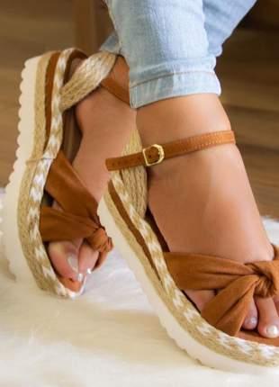 Sandália flatform kate caramelo