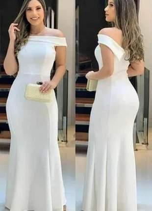 Vestido longo de festa, casamento, madrinha modelo ombro a ombro
