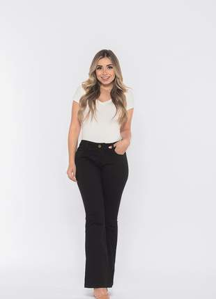 Calça feminina cintura alta skinny slim flare levanta bumbum bella preta