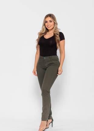 Calça feminina cintura alta skinny slim levanta bumbum lycra e elastano gio verde