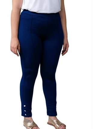 Calça feminina plus size cintura alta levanta bumbum azul