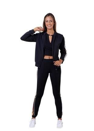 Calça jogger feminina cintura alta bella canvas preta