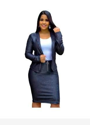 Conjunto blazer saia lápis cirre moda evangélica congressos