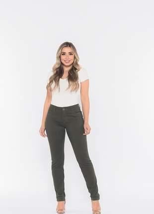 Calça feminina cintura alta skinny slim sarja levanta bumbum lycra e elastano angel verde