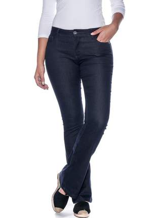Calça jeans feminina cintura alta skinny flare levanta bumbum lycra e elastano