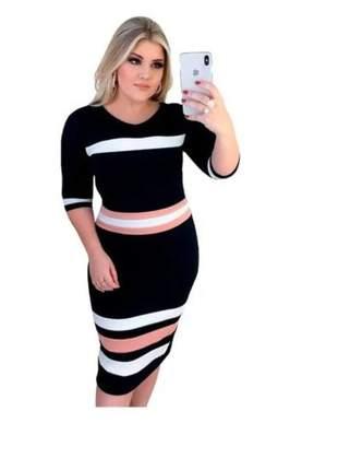 Vestido midi tricolor roupas femininas moda evangelica