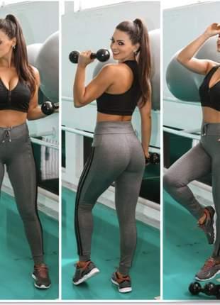 Lançamento em malha crepe calça estilo legging com bolso celular academias cod.lady