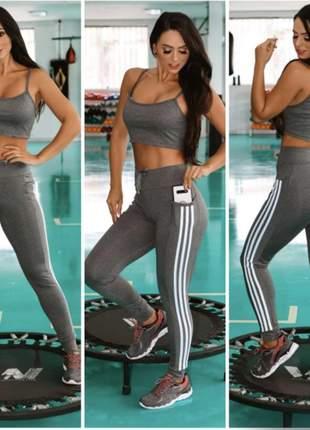 Linda para academia bolso celular em suplex calça legging fitness