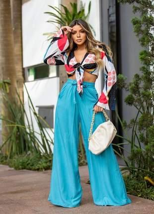 Calça pantalona cor azul cintura alta tecido viscose