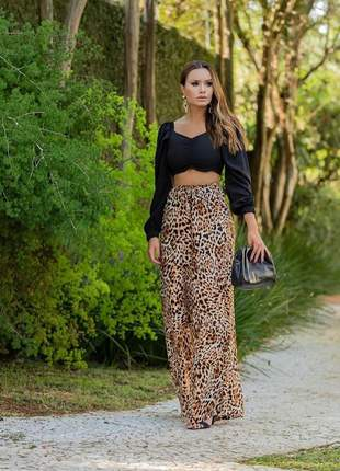 Calça pantalona cor animal print cintura alta tecido viscose
