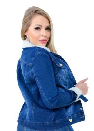 Jaqueta jeans pelinho modeladora com lycra