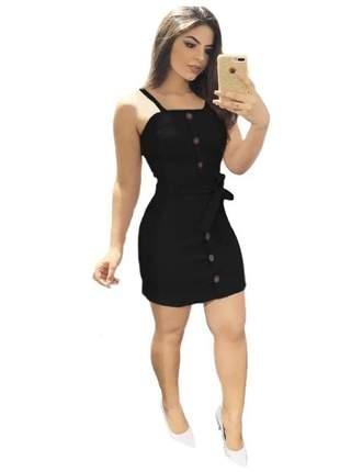 Vestido curto rodado colado clássico basico com botões alça