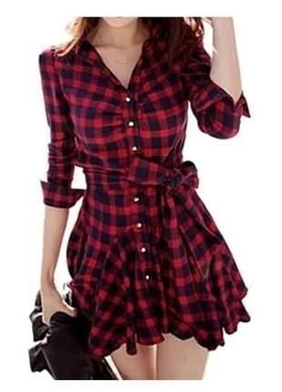 Vestido xadrez-roupas femininas pronta entrega viscolycra