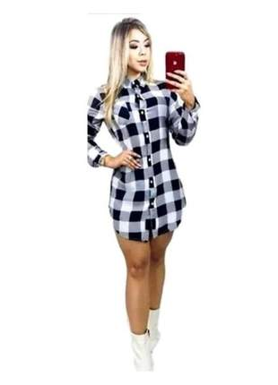 Vestido camisao xadrez com laço manga longa