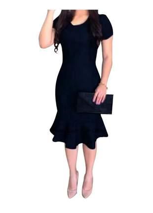 Vestido midi tubinho babado moda evangélica gospel social