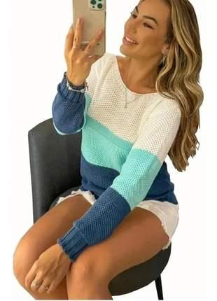Blusa feminina tricot frio outono inverno qualidade listras