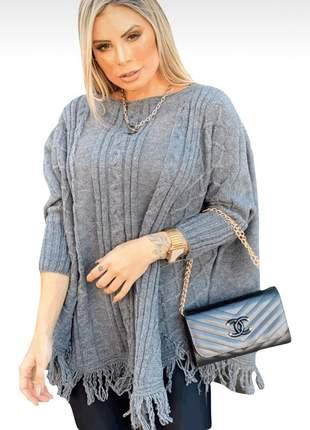 Poncho lã tricot com franja feminino inverno suéter fechado