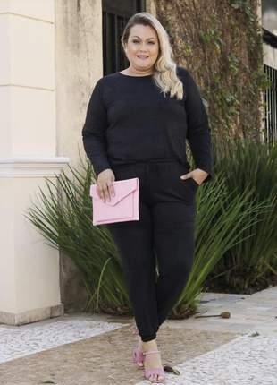 Loucura conjunto calça e blusa suede plus size tamanhos grandes até o g4