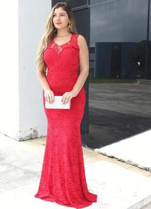 Vestido longo de festa vermelho madrinha de casamento bodas aniver eventos renda bojo