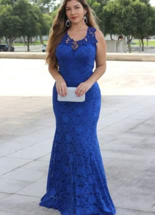 Vestido festa azul royal tiffany rosa longo madrinha de casamento aniver batizado sereia