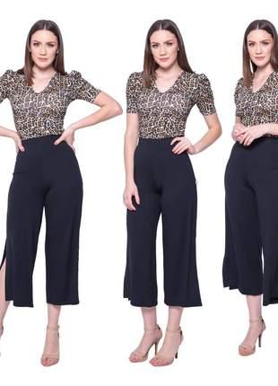 Calça pantacourt feminina lisa sem transparência forrada cintura alta canelada