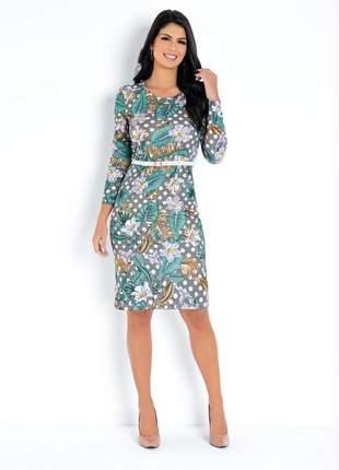 Vestido zazi estampa floral/poá com mangas moda evangélica