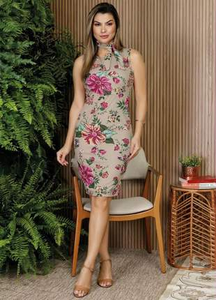 Vestido lilya estampa floral bege com faixa moda evangélica