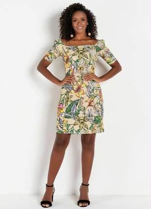 Vestido ruana com decote quadrado estampa floral bege