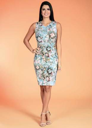 Vestido midi ediga regata estampa floral azul moda evangélica