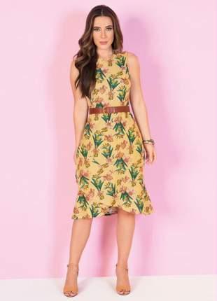 Vestido midi julya estampa floral com babado na barra