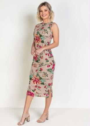 Vestido midi felipa moda evangélica estampa floral com babado