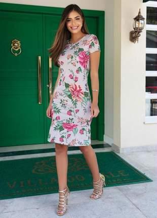 Vestido meire tubinho floral bege com barra babado moda evangélica