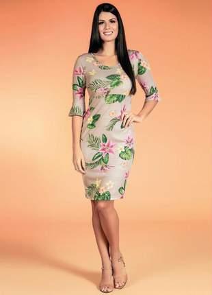 Vestido joani com manga 7/8 estampa floral moda evangélica