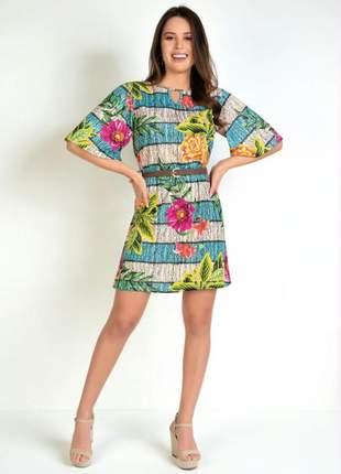 Vestido lusy estampa floral com gota no decote
