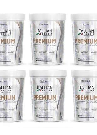 Combo 6 pó descolorante premium powder itallian color 400g