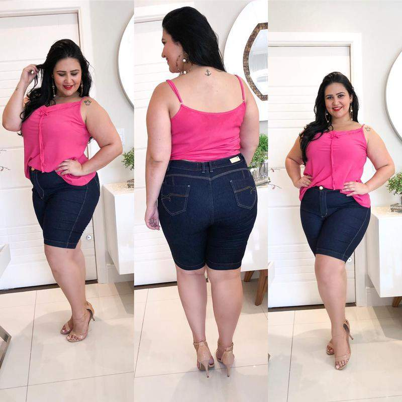 Destmoda / Bermuda jeans plus size amaciada