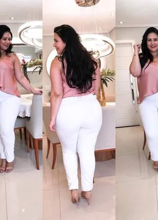 Calça jeans branca plus size tamanhos grandes