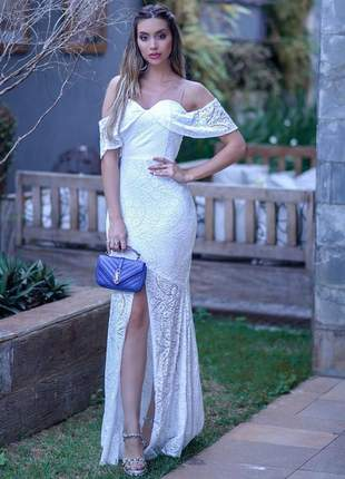 Vestido branco off whithe longo renda festa